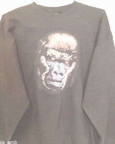 Adult Sweatshirt Silverback Gorilla Face Hanes Heavyweight Black Size Large #Hanes #Sweatshirt