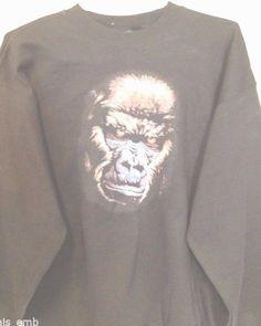 Adult Sweatshirt Silverback Gorilla Face Hanes Heavyweight Black Size Large #Hanes #Sweatshirt