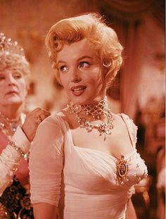 """Marilyn Monroe and Sybil Thorndike during the filming of """"The Prince and The Showgirl"""". Photo by Milton Greene, 1956."""