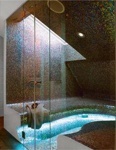 Modern mosaic tile rain shower with sunken tub. Amazing!! Dark, Light, Glass: Refined Contrast in Open Space Living