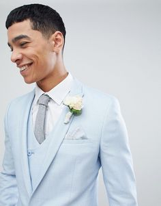 Browse online for the newest ASOS DESIGN wedding super skinny suit jacket in ice blue micro texture styles. Shop easier with ASOS' multiple payments and return options (Ts&Cs apply). Dress Suits For Men, Mens Suits, Skinny Suits, Grooms, Super Skinny, Fashion Online, Fitness Models, How To Look Better, Asos
