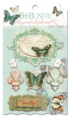 Bo Bunny Press - Gabrielle Collection - Layered Chipboard Stickers with Glitter and Jewel Accents at Scrapbook.com $4.49