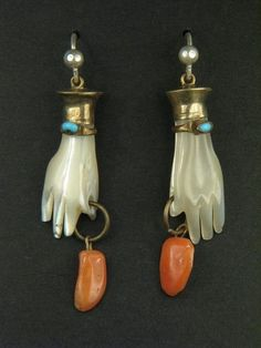 ANTIQUE GILT CARVED MOTHER OF PEARL PAIR OF HANDS w/ CORAL DROP EARRINGS c1800's | eBay, $165.00: Hand Jewelry, Cute Jewelry, Jewelry Art, Jewelry Accessories, Fashion Jewelry, Jewelry Design, Skull Jewelry, Hippie Jewelry, Victorian Jewelry