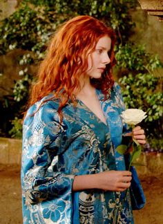 This beautiful blue silk robe has probably been inspired by a Waterhouse painting.