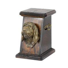 Wooden urn, made of birch with cold cast bronze statue ♥ Cremation Boxes, Dog Cremation, Sculptures, Lion Sculpture, Afghan Hound, Brass Handles, Urn, Birch, Your Pet