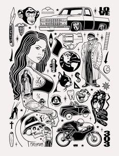 Tattoo Drawings, Body Art Tattoos, Flash Art Tattoos, Tattoo Art, Mike Giant, Traditional Tattoo Flash Art, Dessin Old School, Cubs Tattoo, Classy Tattoos