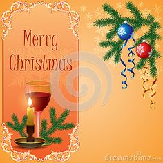 Christmas scene with hanging ornamental balls