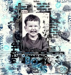 Boys Grungy Layout featuring out 100% boy ribbon designed by my2angels