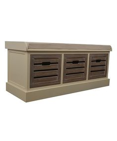 Look what I found on #zulily! White Melody Weathered Three-Drawer Cushioned Bench #zulilyfinds