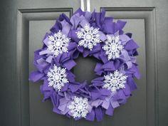 Christmas Wreath/Purple Fleece Snowflake Rag by ThePeekABooPug, $25.00