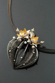 """Sooyoung Kim. """"Strombo Cactus"""". Sterling silver, 24k gold plating, fresh water pearls.  See to Wiwat's polymer clay work."""