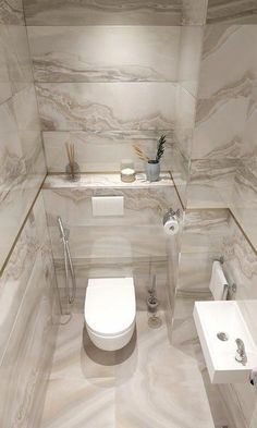 Gray marble toilet Toilet in grey marble finish tiles - Marble Bathroom Dreams Bathroom Vanity Decor, Modern Bathroom Decor, Bathroom Layout, Bathroom Ideas, Bathroom Organization, Industrial Bathroom, Scandinavian Bathroom, Remodel Bathroom, Bathroom Shelves