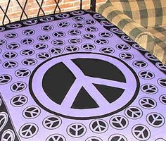 Peace Sign Printed Tapestry in Purple and by OpalMoonTreasures