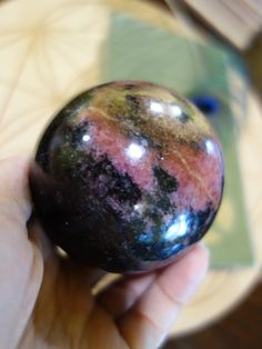 ~XL CRANBERRY RED PATTERNS RHODONITE SPHERE CARVING~  NEWLY LISTED! Take a Closer Look Here===>