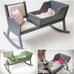 DIY rocking chair cradle with cot - you can comfortably . - Baby deco - DIY rocking chair cradle with cot — you can comfortably … - Baby Furniture, Furniture Projects, Wood Furniture, Wood Projects, Furniture Design, Furniture Removal, Furniture Plans, Luxury Furniture, Baby Cribs