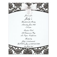 Damask Elegance Bachelorette Party Invitation