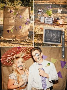 outdoor photo booth ideas with burlap background | VIA #WEDDINGPINS.NET