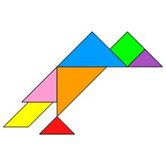 Tangram Vulture - Tangram solution - Providing teachers and pupils with tangram puzzle activities Tracing Shapes, Tangram Puzzles, Directed Drawing, Vulture, Math Worksheets, Fun Math, Pattern Blocks, Origami, Letters