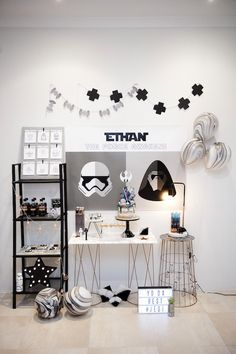 Party Setup form a Geo, Copper & Monochromatic Star Wars Party via Kara's Party Ideas | KarasPartyIdeas.com (19)