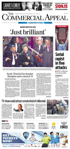#20160205 #USA #TENNESSEE #MEMPHIS #TheCommercialAppeal Friday FEB 5 2016 http://www.newseum.org/todaysfrontpages/?tfp_show=80&tfp_page=7&tfp_id=TN_CA