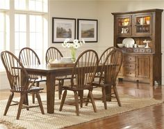 Broyhill Affinity Dining Room Set Seabrooke 7 Piece Turned Leg Dining Table And Louvered Back Chairs