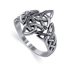 Sterling Silver 40 x 30mm Double Triquetra Celtic Knot Trinity Design Polished Finished 3mm Band
