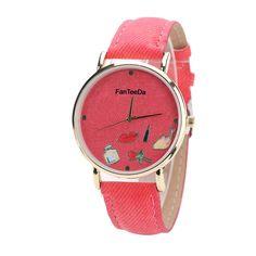 9a2b0e147644 Loweryeah Imitation Denim Pure Color Watch Man Lady Bright Quartz Watch     You can get