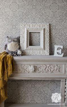 Esperanza Lace Tile Stencil | Royal Design Studio | ALL Lace Stencils are 20% off with code LACE20 through 10/13.