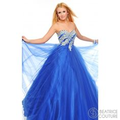 P44319 An empire waisted ball gown with stunning embroidered and sequined petals climbing down across a true sweetheart neckline. This embroidered empire waist ball gown available in Blue