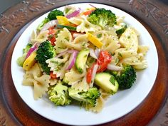 Summer Vegetable Pasta Salad including vinaigrette recipe too!  Quick and easy.  Throw the broccoli in with the pasta cooking during the last minute to slightly blanch it.
