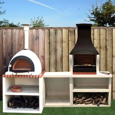 Napoli Outdoor Kitchen Combo BBQ and Wood Fired Pizza Oven Alwyn Home Outdoor Bbq Kitchen, Pizza Oven Outdoor, Backyard Kitchen, Outdoor Kitchen Design, Outdoor Cooking Area, Rustic Outdoor, Bbq Outdoor Area, Pizza Oven Outside, Brick Oven Outdoor