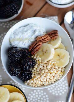 Greek yogurt, pecans, banana, blackberries, puffed quinoa and honey