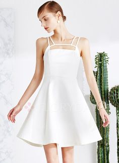 Dresses - $90.46 - Polyester Solid Sleeveless Above Knee Casual Dresses…