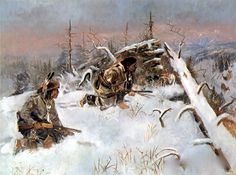Charles M. Russell (1864-1926)- Crow Indians Hunting