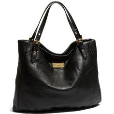 MARC BY MARC JACOBS 'Classic Q - Shopgirl' Leather Tote Black One Size ($498) ❤ liked on Polyvore