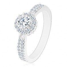 Eljegyzési gyűrű 925 ezüstből, átlátszó kerek cirkónia áttetsző szegéllyel Engagement Rings, Jewelry, Fashion, Enagement Rings, Moda, Wedding Rings, Jewlery, Jewerly, Fashion Styles