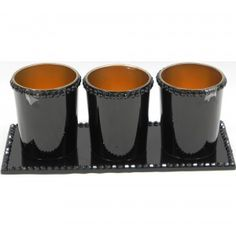 Jewelled Tea Light Holder Black and Tray Set of 3