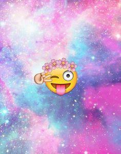 Imagen de emoji, galaxy, and wallpaper