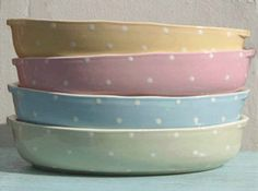 Pastel dotty oven dishes