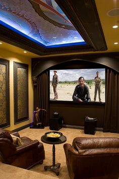Theater Rooms, Projector, Home Movie Theater, Surround Sound, Control I  Love The Arch Over The TV And Theater Curtains. Part 96