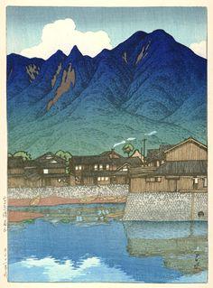 Mt. Mayuyama & Shimabara-Minato Port by Kawase Hasui, 1922