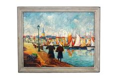 French Fishing Village and Boat Painting, Breton Coastal Decor Sea Art - French Fishing Village and Boat Painting Breton Coastal Decor Boho Chic Living Room, Decor Home Living Room, Boat Painting, Painting Frames, Vintage Picture Frames, Sea Art, French Vintage, Vintage Vogue, Fishing Villages