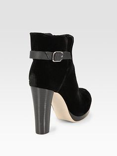 Velvet and leather ankle boots