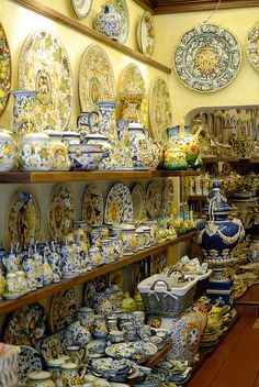 "Ceramics shop, San Gimignano. Bought our 48"" solid painted ceramic table there about 15 years ago."