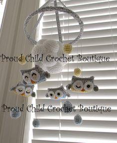 Owl crochet Mobile by ProudChildCrochet on Etsy