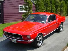 1968 Mustang...Mine was candy apple red. With black interior... Loved this car! Had a front end alignment done on it...And the mechanic cracked the tie rod end didn't say anything... Car ended up oh-most costing me my life...