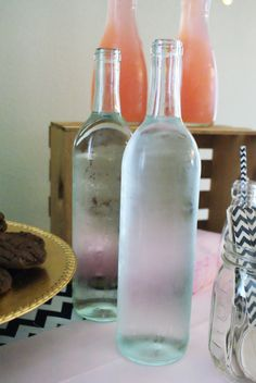 Wine bottles make a chic way to serve chilled water