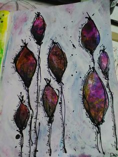 My pod forest, inspired by DeeDee Catron YouTube clip.  Liquitex inks back ground covered with white gesso.  Liquid acrylics payness grey and writing with art line pen.  By Wendy Patterson.