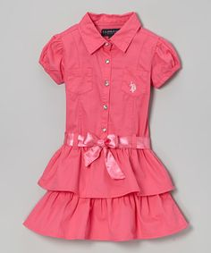 Take a look at this Pink Belted Ruffle Button-Up Dress - Toddler & Girls by U.S. Polo Assn. on #zulily today!