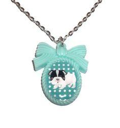 Mint Green Dog Necklace, French Bulldog Puppy Kawaii Cameo Necklace,. $11.99, via Etsy.